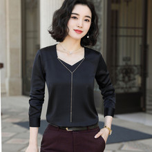 Black long sleeve chiffon shirt women 2019 New autumn fashion long sleeve V neck satin blouses office ladies work tops white обложка для паспорта printio стикеры рок группы