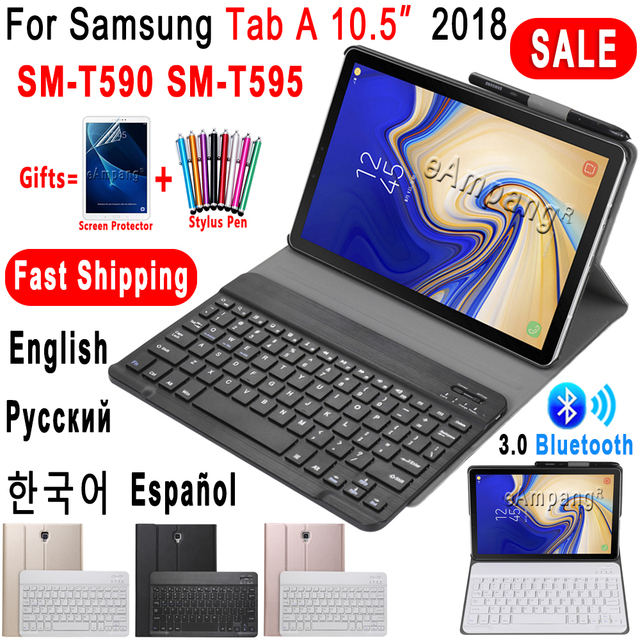 Russian Spanish English Keyboard for Samsung Galaxy Tab A 10.5 2018 Keyboard Case T590 T595 SM T590 SM T595 Leather Cover Funda