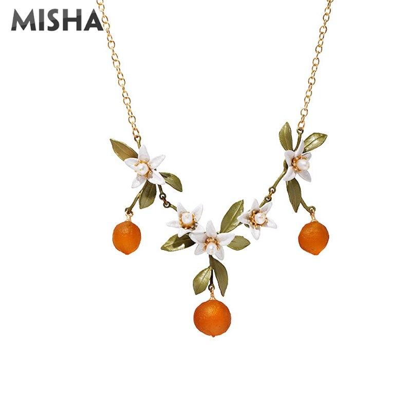MISHA mode collier pour femmes haute qualité émail glaçure Orange fleur bijoux pour dames fête cadeau de mariage 2205