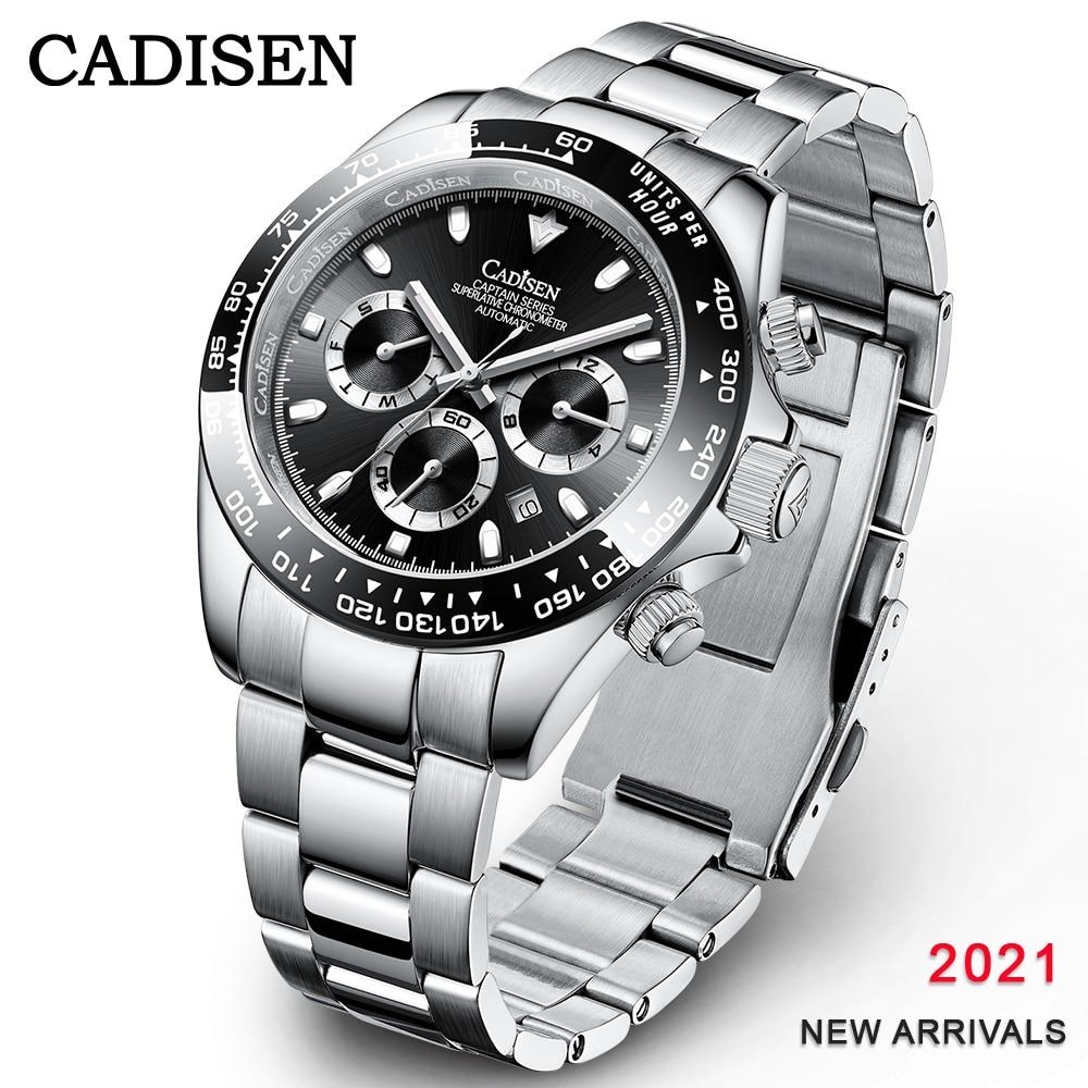 CADISEN 2021 Для мужчин s часы автоматические механические наручные часы Для мужчин роскошный сапфир 100 м Водонепроницаемый Daytona Нержавеющая стал...