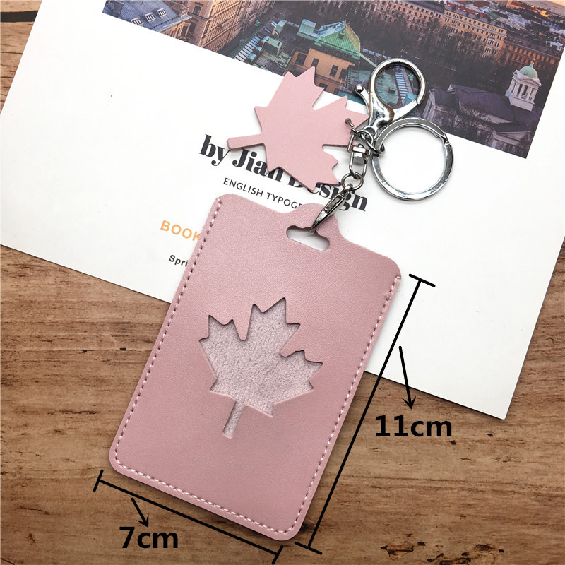 Fresh Candy Maple Leaves PU Name Card Cover Bank Credit Card Holder Id Card Holder Tag For Students Kids School