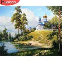 Huacan pintura a óleo por números cenário diy fotos por números árvore paisagem kits de verão desenho da lona pintados à mão decoração casa
