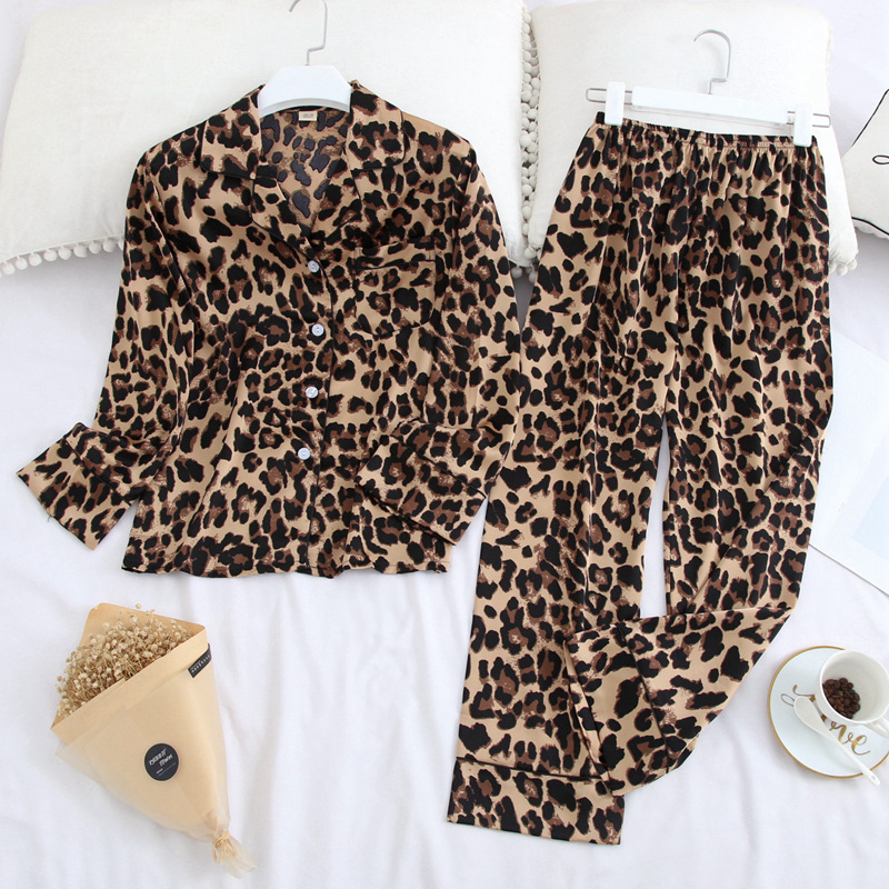 Pajamas Set For Women Leopard print Sexy Casual Pajamas 2 Pieces Ice Silk Satin Sleepwear Long Sleeve Female Home Clothes Suit