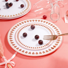 Disposable Pink Plastic Dinner Plate Birthday Party Wedding Fruit Cake Plate 60pcs