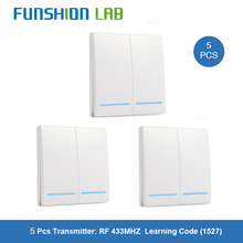 FUNSHION 5 pcs 433MHz Universal Wireless Remote Control 86 Wall Panel RF Transmitter Receiver 1 2 3 Button For Home Light Switch