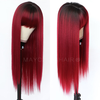 Maycaur Long Straight Synthetic Hair Wig With Bangs Blonde Black Red Grey Wigs for Women - discount item  35% OFF Synthetic Hair