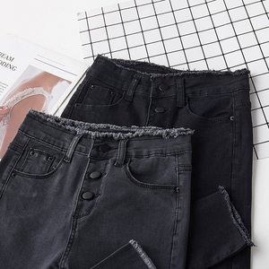 Image 4 - ג ינס נשים עיפרון סקיני Slim ציצית כפתור לטוס מוצק נשים Bottoms בסיסי ז אן קלאסי שיק קוריאני סגנון פנאי אופנתי שיק