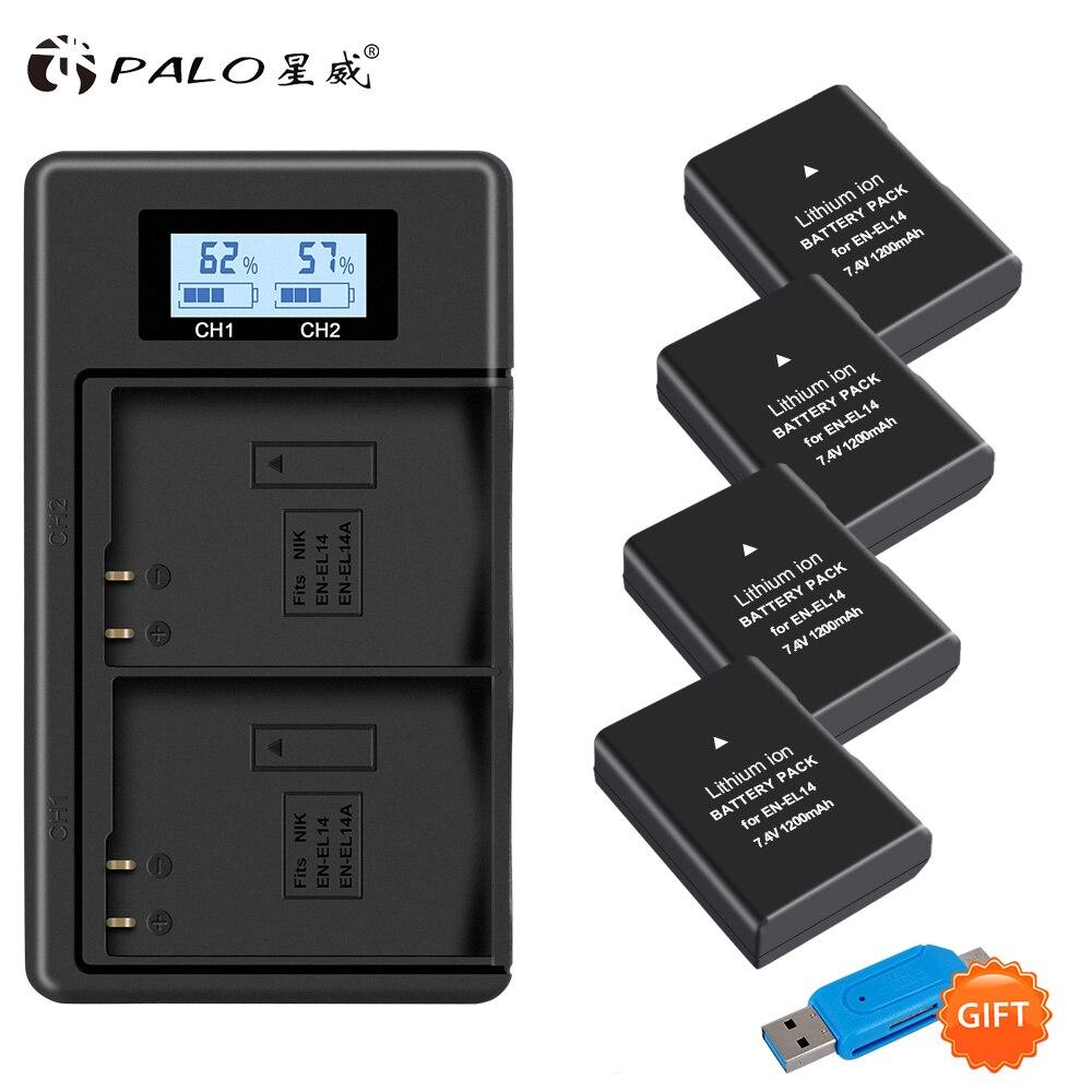 PALO 4 pièces 1200mAh EN-EL14 EN-EL14a ENEL14 EL14 boîtier de batterie + LCD USB chargeur rapide pour Nikon P7800 P7700 P7100 P7000 D5500 D5300