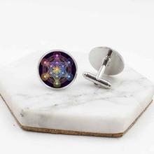 2019 new fashion sacred geometry glass cufflinks clothing accessories wedding men's jewelry cufflinks brass rotating geometry cufflinks brown pair