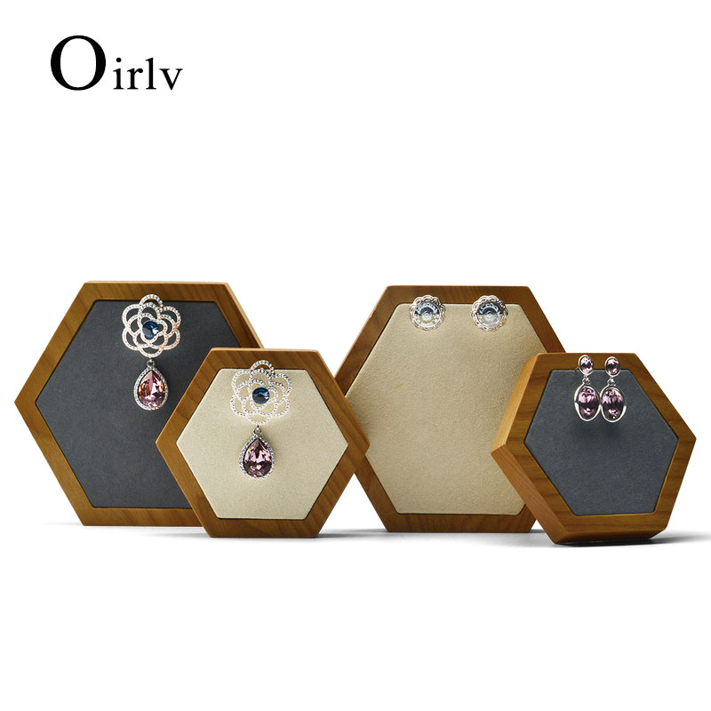 Oirlv 2 Pcs /Set Rhombus Jewelry Display Stand with Microfiber Necklace Earrings Bracelet Holder Organizer  for Jewelry Showcase