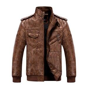 Image 4 - Männer Pu Jacke Winter Leder Mit Kapuze Biker Mantel Männer 2019 Streetwear Fleece Zipper Jacke mit Abnehmbaren Hut Casual Mäntel
