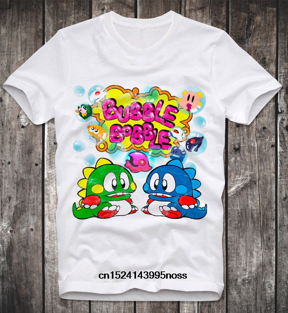 Fashion Men'S T Shirt Commodore C64 Amiga Game Gamer Gaming Bubble Bobble Cult Vintage Retro image