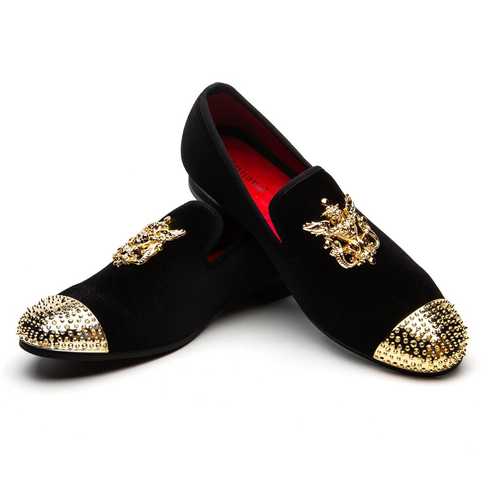 Men Casual Shoes Handmade Fashion Comfortable Breathable Men Shoes Gold Metal Crown Type Men Loafers Shoes