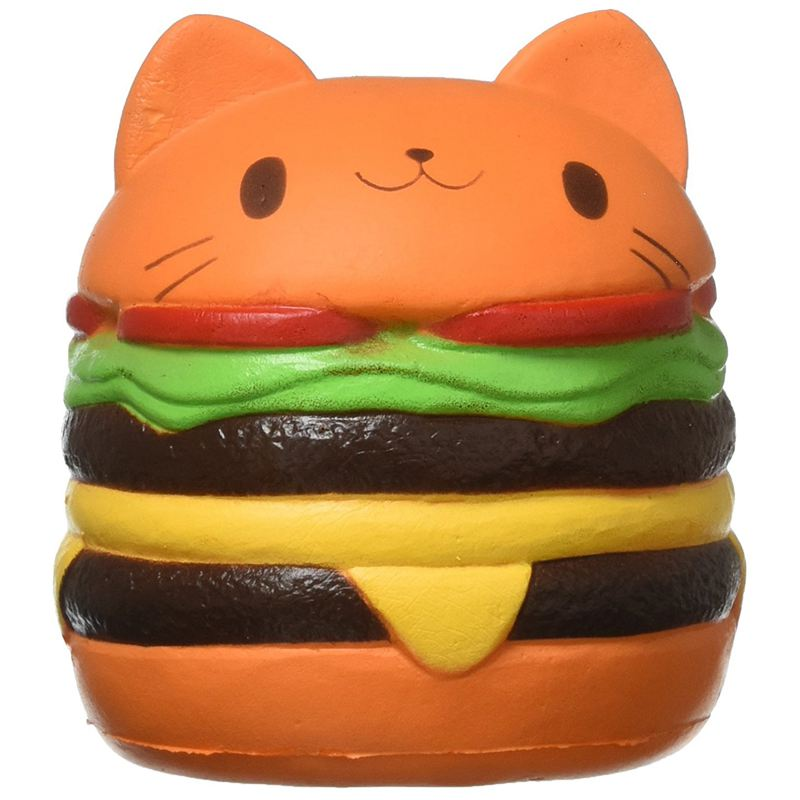 Squishy Cat Hamburger Food Squishys Cake Stress Relief Toys Scented Squeeze Slow Rising Fun Toy Relieve Stress Cure Gift