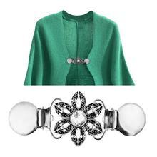 1 Pcs Vintage Women Flower Rhinestone Sweater Clamp Cardigan