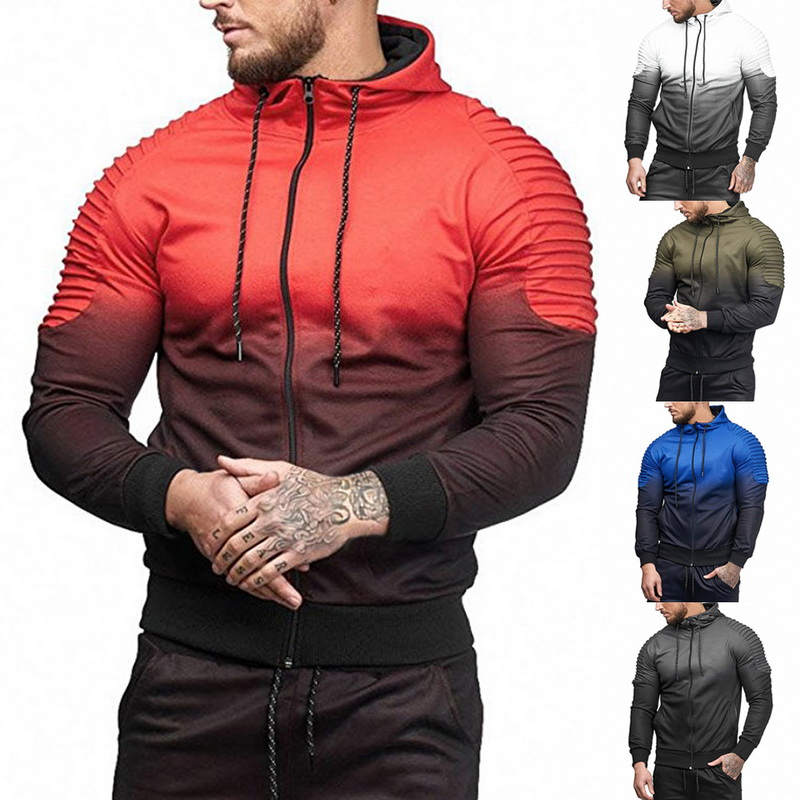 Autumn Winter Casual Running Hoodies Sweatpants Jogging Male Jacket Pants Sets Sports Tracksuit Mens Gym Two Pieces Sets