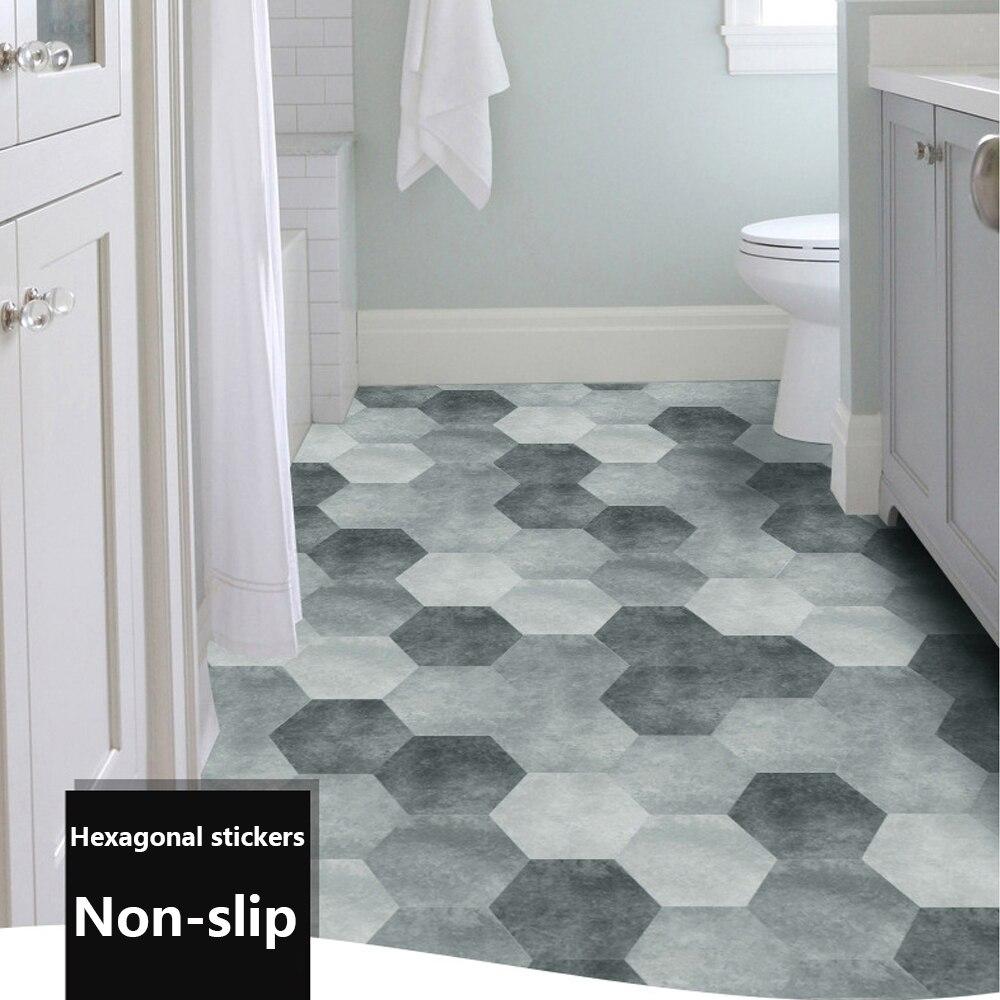 10pcs waterproof floor stickers peel self adhesive floor tiles hexagonal stick bathroom kitchen decor non slip floor decor decal
