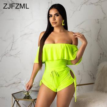 Neon Green Sexy Bodycon Playsuit For Women Slash Neck Butterfly Sleeve Beach Jumpsuit  Summer Off Shoulder Backless Short Romper lace insert backless cold shoulder romper