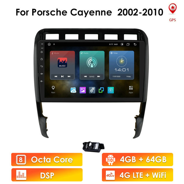 2 DIN Android 10 autoradio For Porsche Cayenne 2002 2010 car audio navigation multimedia dvd stereo wifi BT tape recorder 4G LTE
