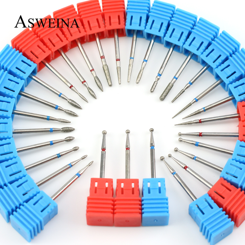 29 Types Diamond Nail Drill Bit Rotary Burr Cuticle Clean Bits Electric Manicure Drill Accessories Nail Mills Beauty Tools