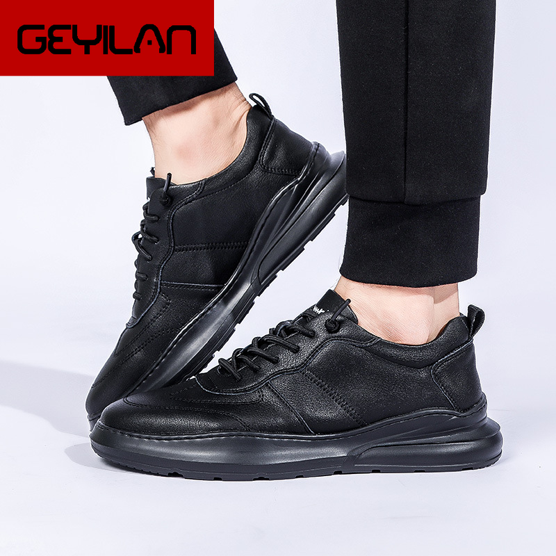 Black Sneakers Leather Shoes Men Luxury