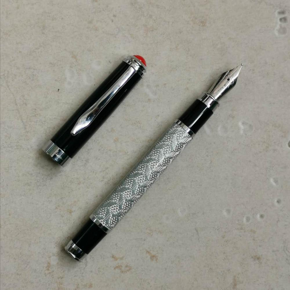 Old Stock Fuliwen 2033A Fountain Pen Silver Carbon Fibre Ink Pen Stationery Office School Supplies Penna Stilografica