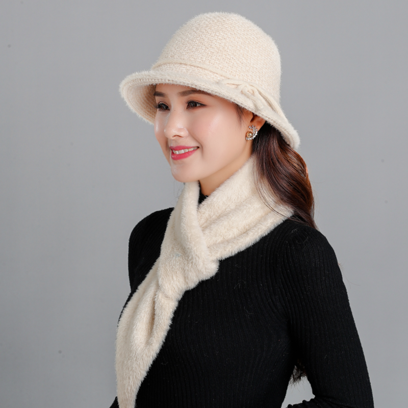 Winter Hat For Women Chenille Material Knitted Bucket Hat Scarf Female Autumn 2019 Vintage For Girls Beanie Lady Fisherman's Hat