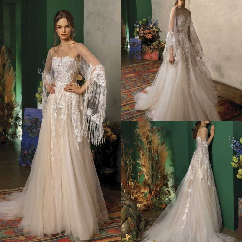 2020 Wedding Dresses Jewel Long Sleeves Lace Appliques Tassel Bridal Gowns Backless Sweep Train A Line Wedding Dress