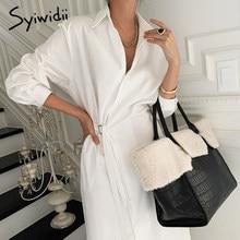 Syiwidii chemise robe avec ceinture col rabattu à manches longues robe de travail pour les femmes noir blanc ample décontracté longues robes 2021 nouveau