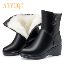 AIYUQI Winter Boots Women Genuine Leather Shoes New Wedge Warm Thick Wool Snow large  Size Mom