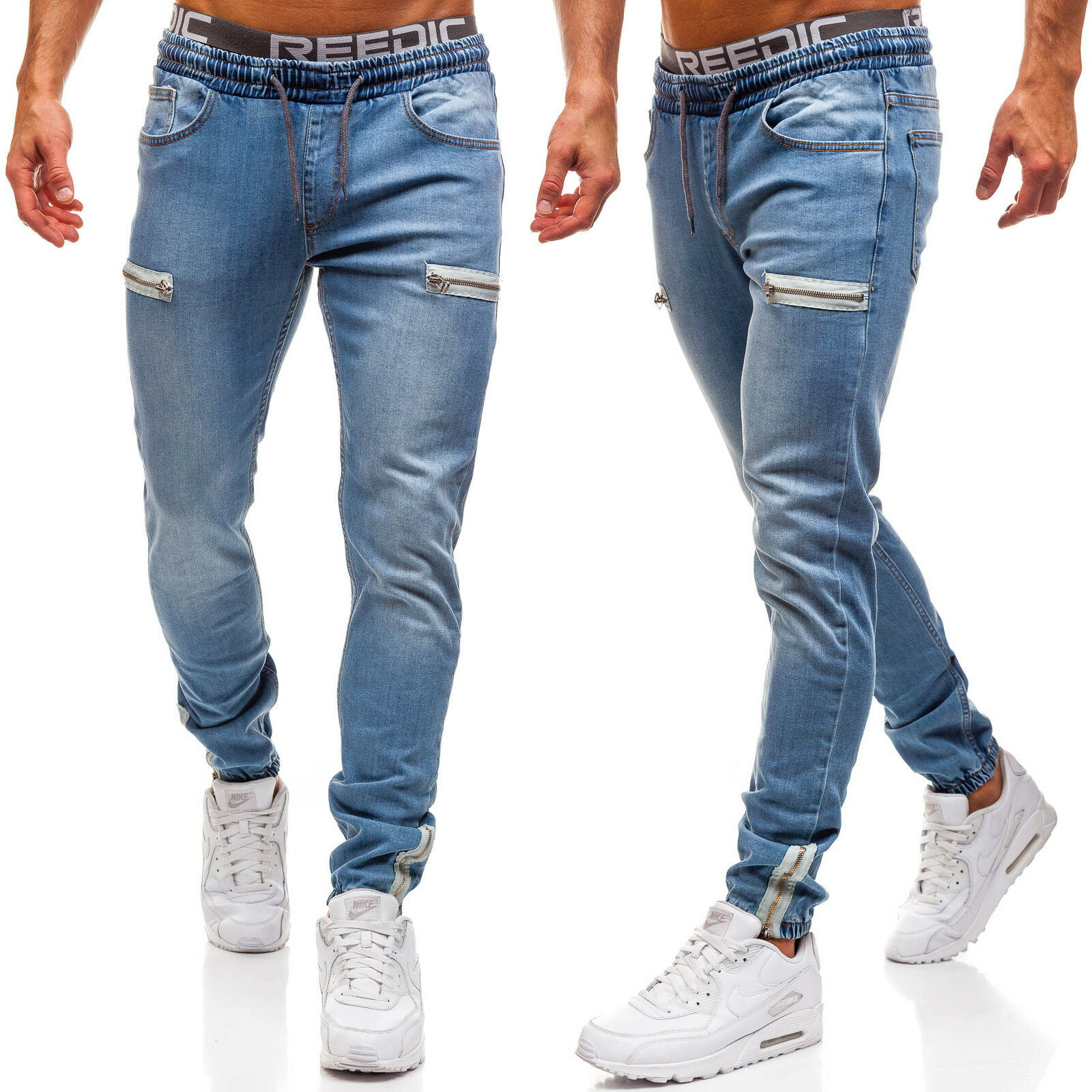 MEN'S WEAR 2019 Men's Autumn New Style Europe And America Cowboy Zipper Solid Color Sports Jeans Fashion Man