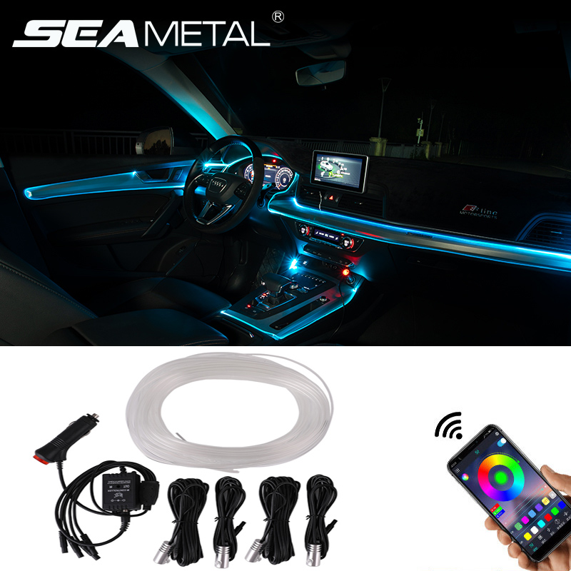 RGB Car Atmosphere Light Strips Ambient Light APP Sound Control Auto Dashboard Window Roof Decorative Lamp USB Cigarette Lighter