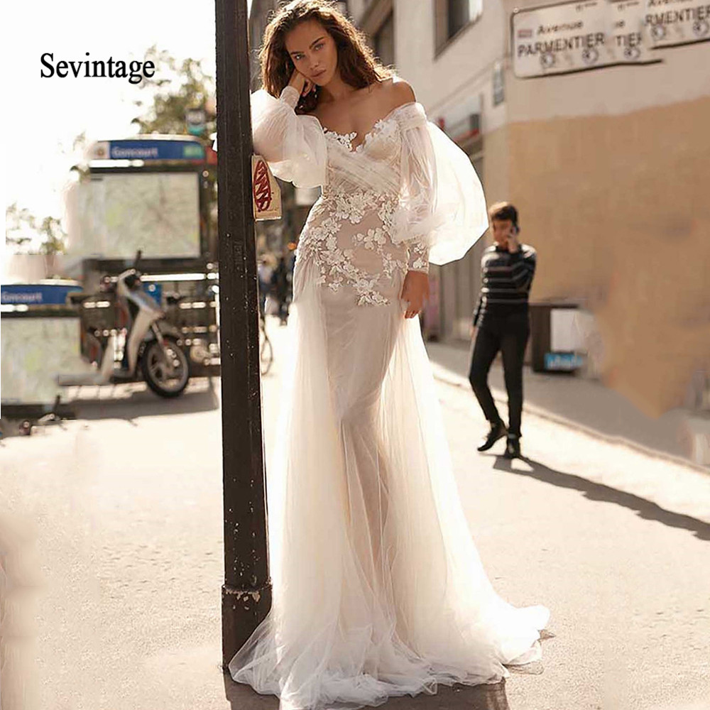 Sevintage Boho Mermaid Wedding Dress Suknie Slubne Off The Shoulder Long Puff Sleeve Lace Wedding Bride Gowns Robe De Mariee