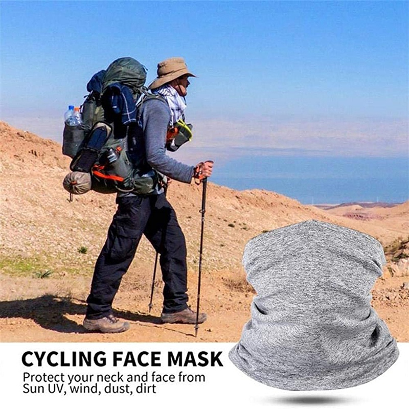 1 Pack Unisex Head Neck Gaiter Face Scarf Mask Bandana Scarf with 50 Pcs Carbon Filters