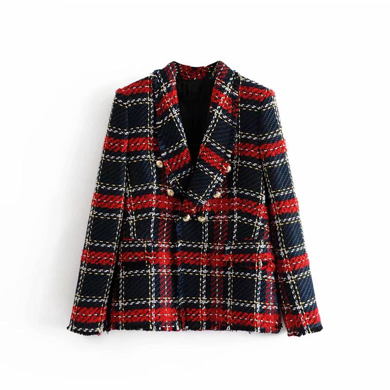Winter Red Plaid Women Blazers And Jackets Casual Office Work Tweed Blazer Coat Double Breasted Tassel Suit Jacket Blazer Femme
