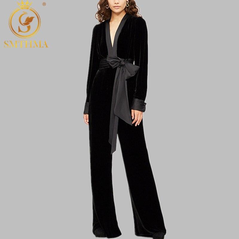 Party Jumpsuits For Women 2019 Sexy V Neck Long Sleeve Black Gold Velvet Jumpsuit Bandage Wide Leg Long Trousers Female Overalls