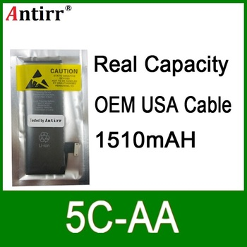 10pcs/lot Real Capacity China Protection board 1510mAh 3.7V Battery for iPhone 5C zero cycle replacement repair parts 5C-AA
