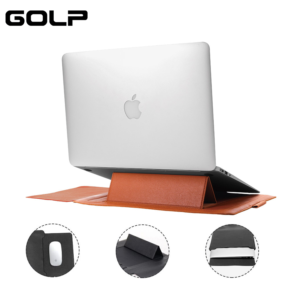 GOLP PU Leather Laptop Sleeve Bag With Holder Stand Universal Pouch Case For Macbook Air 13 12 11 Pro 15 15.4 2018