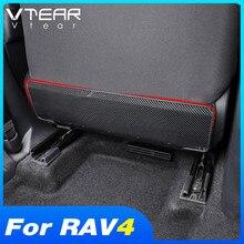 Vtear para toyota rav4 2021 2020 acessórios do carro assento traseiro anti-pontapé proteção pedal capa de fibra de carbono decoração interior