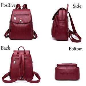 Image 3 - 3 in 1 Vintage sırt çantası kadın yüksek kapasiteli deri omuz çantaları büyük kapasiteli seyahat sırt çantası genç kızlar için okul çantaları