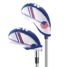 10Pcs White & Blue USA Flag Abrasion Resistant Durable Golf Club Iron Head Covers Protector Set with Numbers