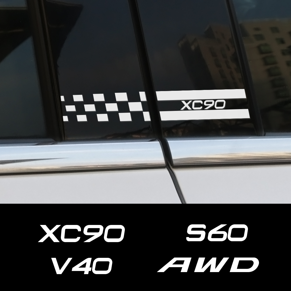 Auto Side Window B Pillar Car Stickers And Decals For Volvo XC90 S60 V40 AWD XC60 V50 V60 V90 XC40 S90 T6 PVC Decor Accessories