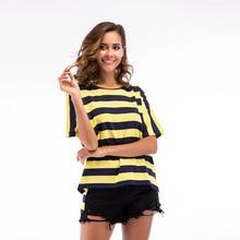 T Shirt Women Bright Color Knitting Stripe Tshirt O-Neck Half Sleeve Clothes 2019 Casual T-Shirt M L XL 5702