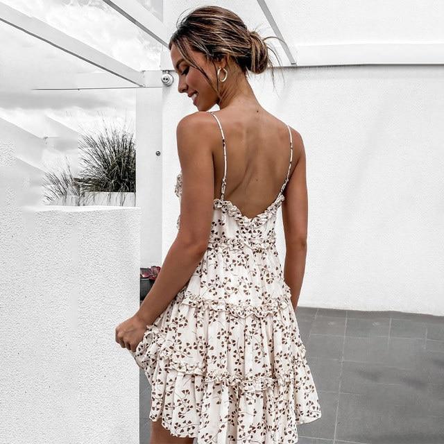 Summer Floral Print Mini Dress Women Spaghetti Strap Backless Sexy Ruffle Short Dress Female 2021 Prairie Chic Sweet Lady Dress 3
