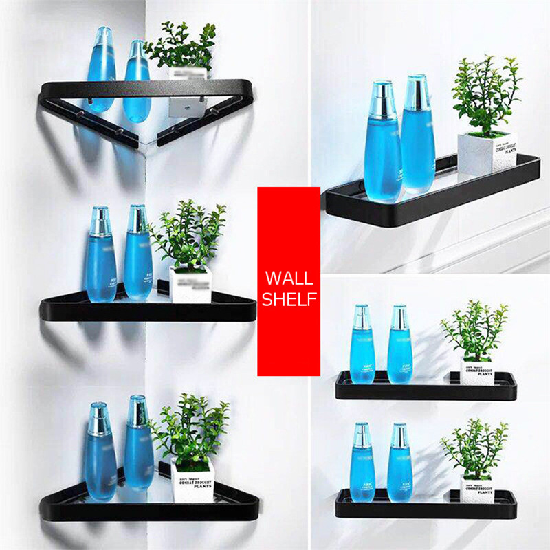 Shower Shelf Shampoo Holder Space Aluminum Bathroom Rack Glass Shelf Wall Hanging Storage Rack Organizer Single Layer Punch-free image