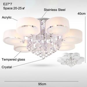 Image 5 - Plafonnier led en cristal, design moderne, design à la mode, luminaire de plafond interchangeable, abat jour blanc, idéal pour une chambre à coucher, une salle à manger ou une chambre à coucher