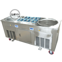 Temperature control 110v/220v three compressors 2 round pans 10 cooling tank fry ice cream rolls fried Refrigeration machine|pan and tilt head|pan cake|control speed -