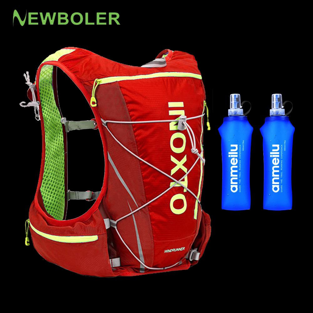 NEWBOLER Trail Running Vest Backpack 8L 10L Ultra Running Hydration Vest Pack Marathon Running Rucksack Bag 500ml Soft Flask