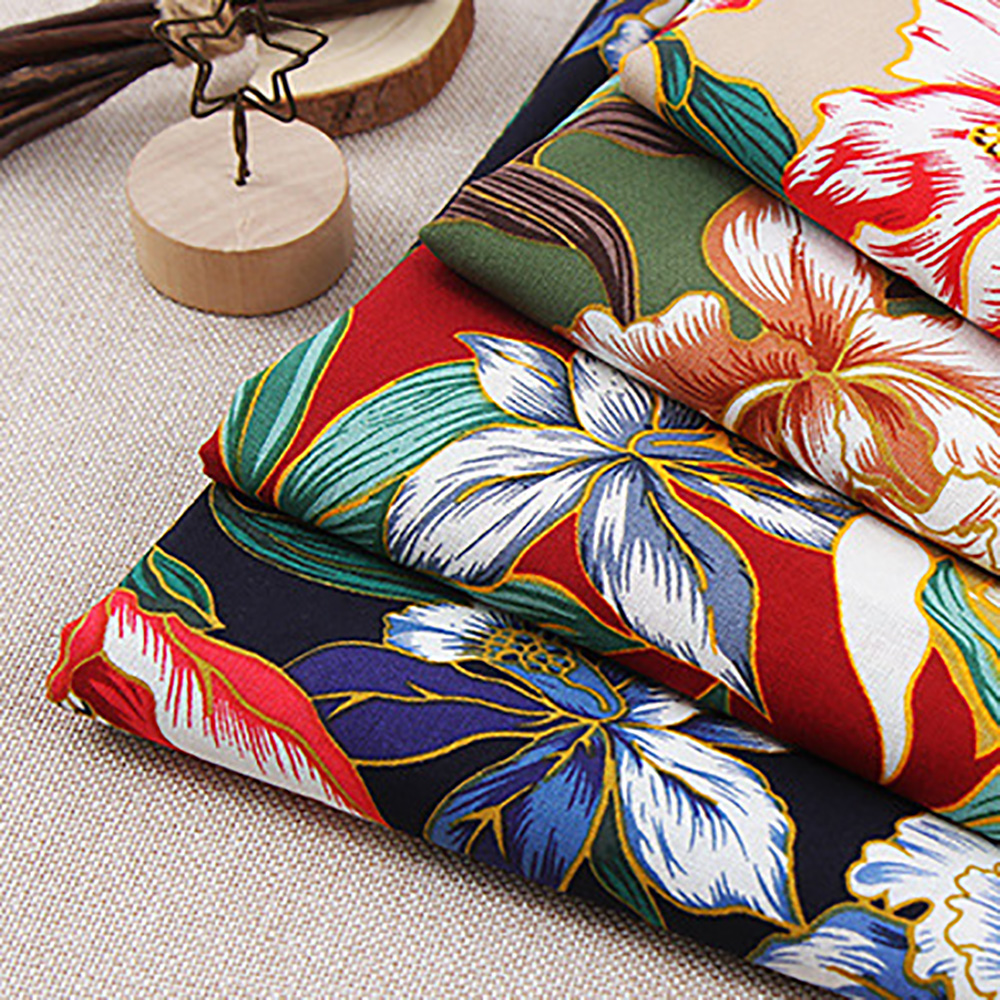 Lychee Life 50x140cm Flower Printed Fabric Fashion Colorful Fabrics DIY Handmade Sewing Clothes Supplies Decorations