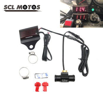 SCL MOTOS Motorcycle 12V Digital Thermometer LED Water Temperature With Stand Sensor Interface For Yamaha Honda Suzuki KTM BWM image